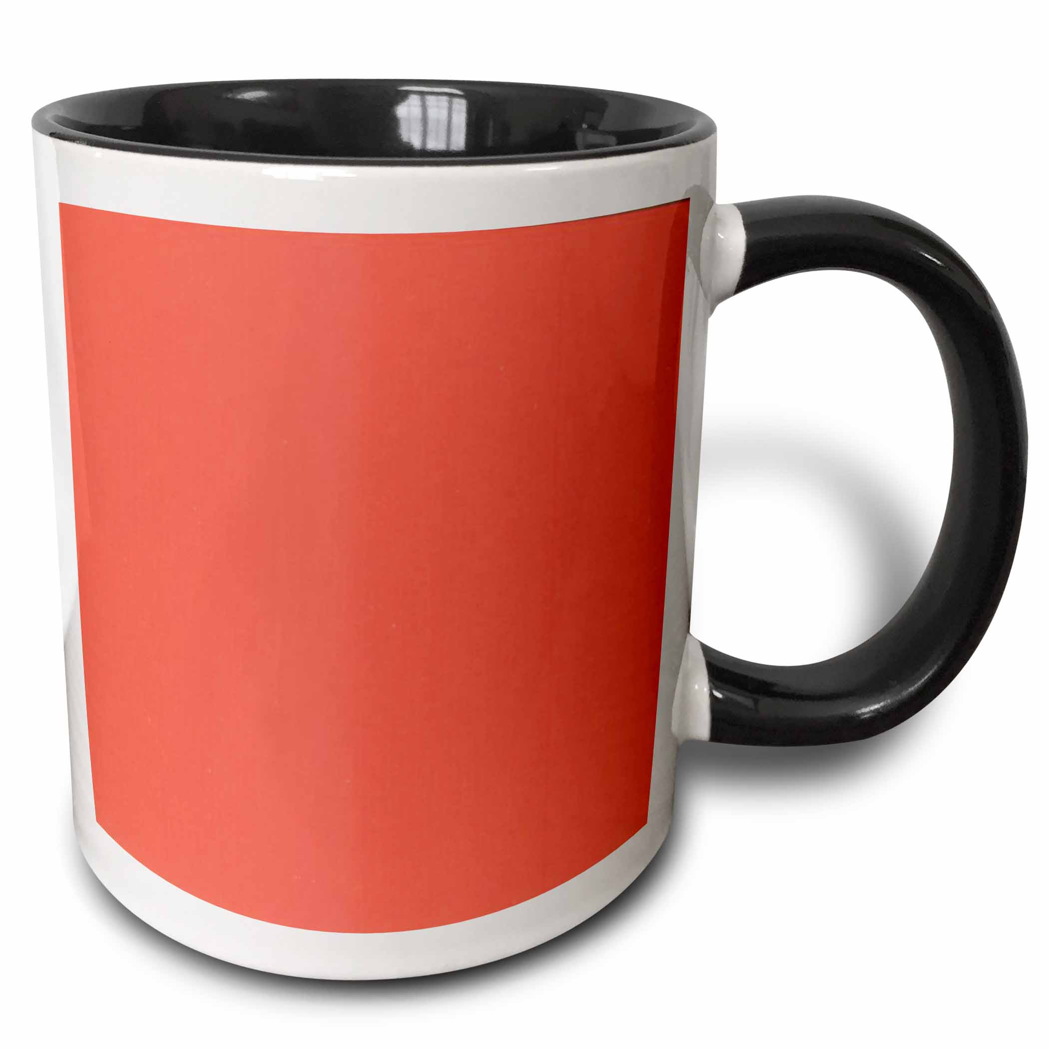 3dRose Hot Coral, Two Tone Black Mug, 11oz