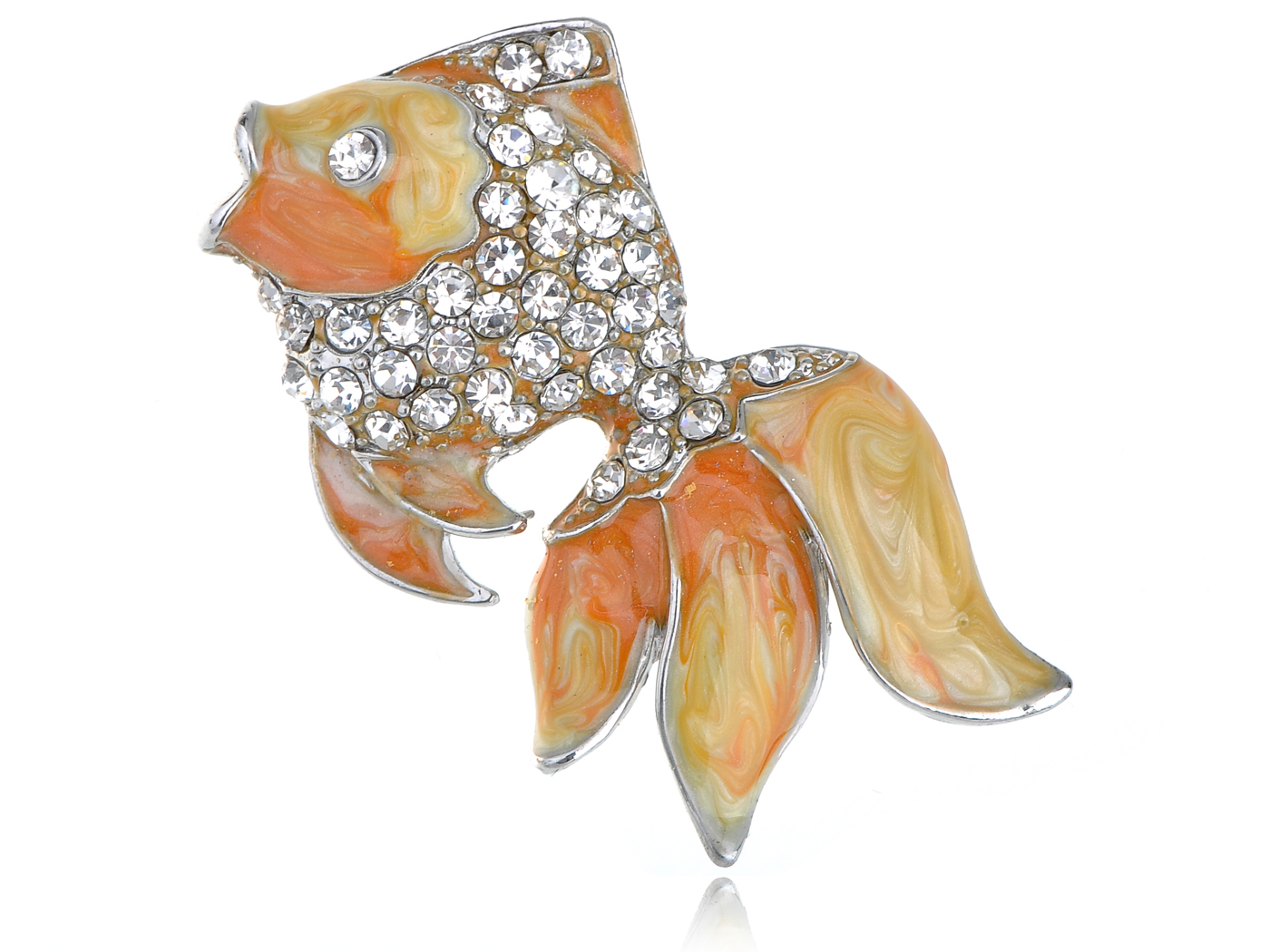 Lovely Yellow Goldenfish Orange Enamel Crystal Rhinestone Sea Creature Pin Brooch by