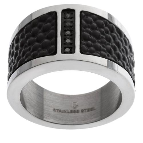 GLLC Stainless Steel Men's 1/10 ct TDW Black Diamond and Textured Leather Ring