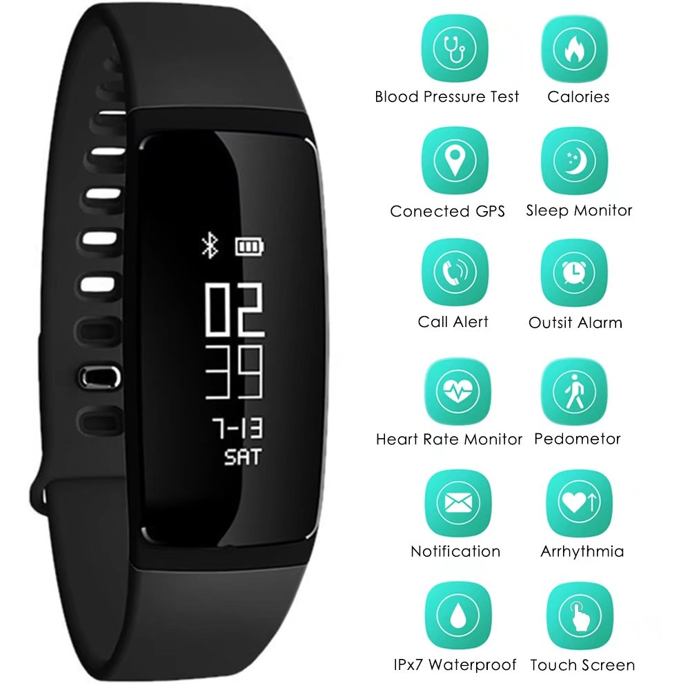 Smart Sport Bracelet Bluetooth Watch Waterproof Fitness Tracker Samrtwatch with Heart Rate Monitor Activity for IOS Android Smart Phone (Black)