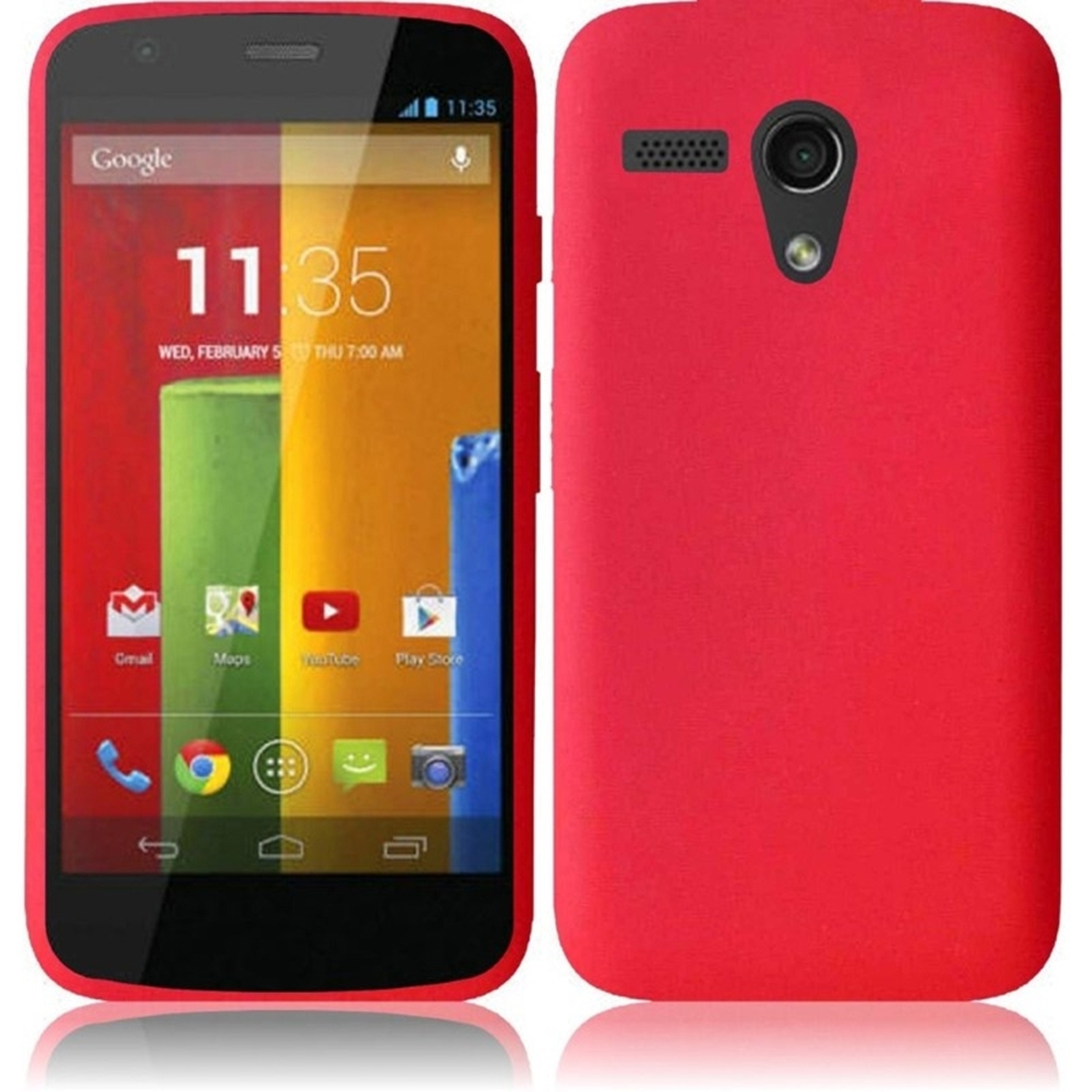 Insten Red Multi-Soft Silicone Rubber Case Cover Skin For Motorola Moto G New