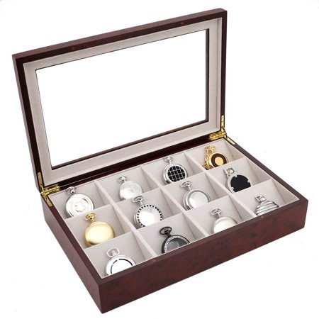 - Pocket Watch Box Display Case 12 Large Compartments Burlwood Finish See Thru Top