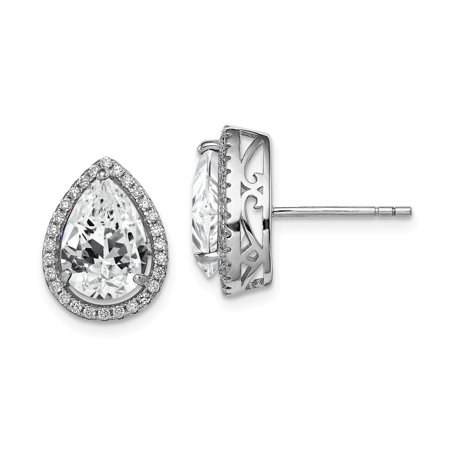 Roy Rose Jewelry Sterling Silver Created White Topaz and CZ Post Earrings