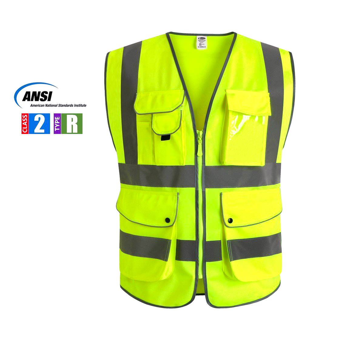 Multiple Pockets Class 2 High Visibility Zipper Front Safety Vest With Reflective Strips, Yellow Meets ANSI/ISEA Standards (Medium)
