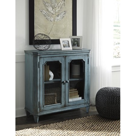 Ashley Furniture Mirimyn Antique Teal Accent Cabinet With 2 Framed