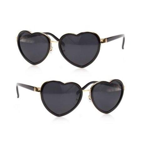 842f64ad1f Vintage Retro Fashion Lolita Heart Shaped Black Metal Frame Women Sunglasses
