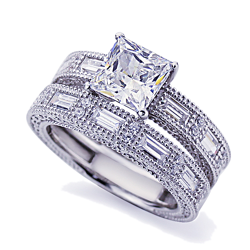 Men Women Platinum Plated Sterling Silver 1.5ct Princess CZ Vintage Engagement Ring Bridal Set ( Size 5 to 9 ), 6