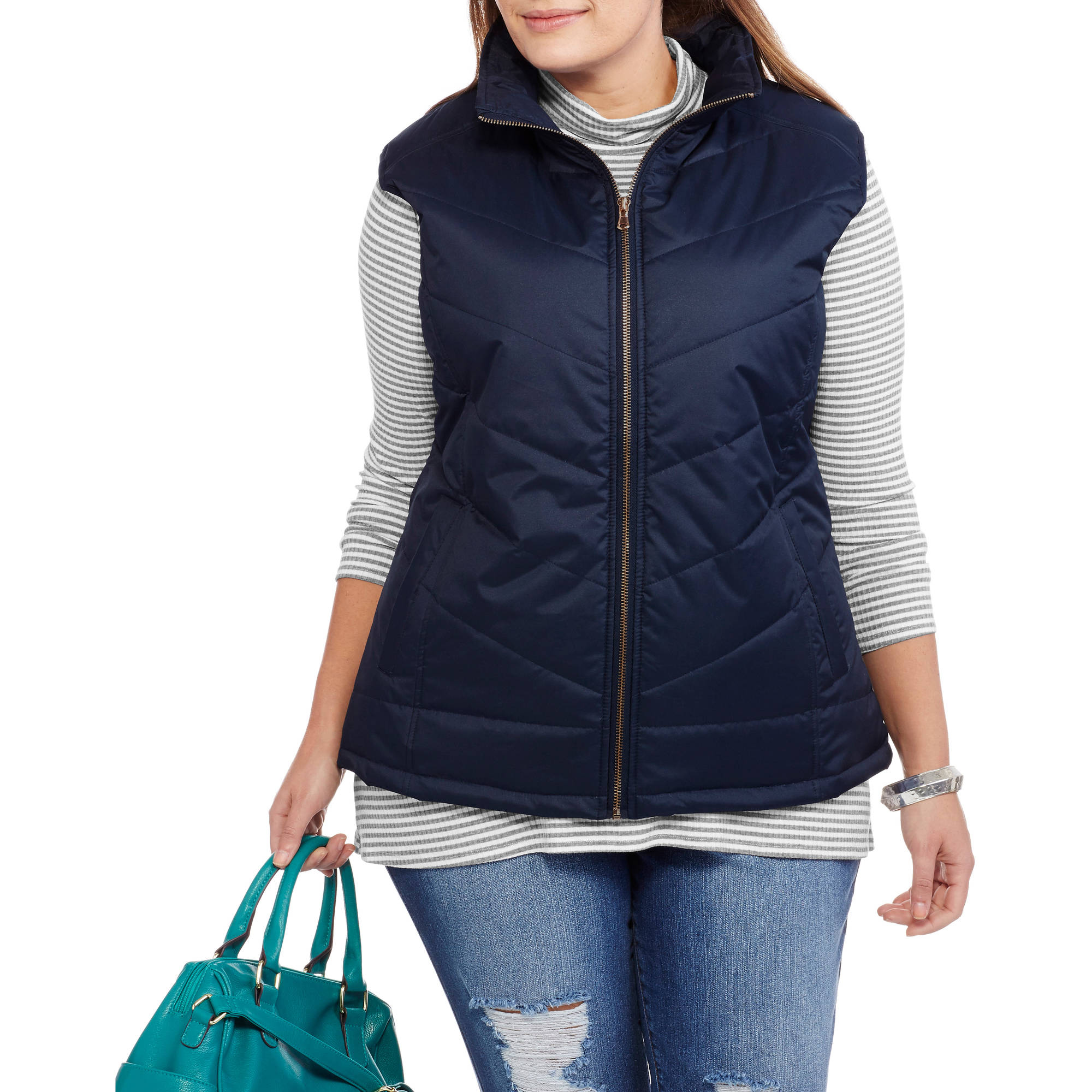 Climate Concepts Women's Plus-Size Quilted Puffer Vest With Gold Zipper