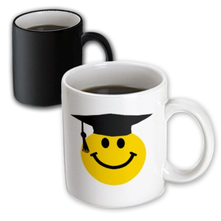 3dRose Graduate smiley - graduating happy face with black mortarboard hat and tassle - uni or school grad, Magic Transforming Mug, 11oz (Graduate Hat)