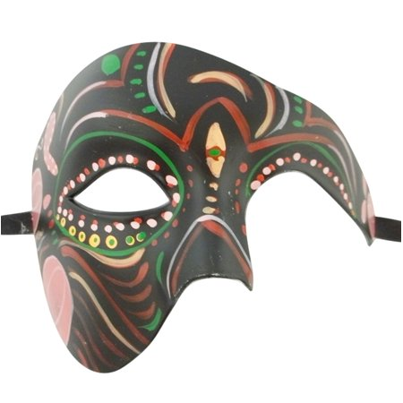 Men's Phantom Black Day of the Dead Large Mardi Gras Masquerade Halloween Mask