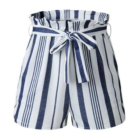 Lilly Posh Retro Stripe Casual Fit Elastic Waist Pocket Self Tie palazzo shorts