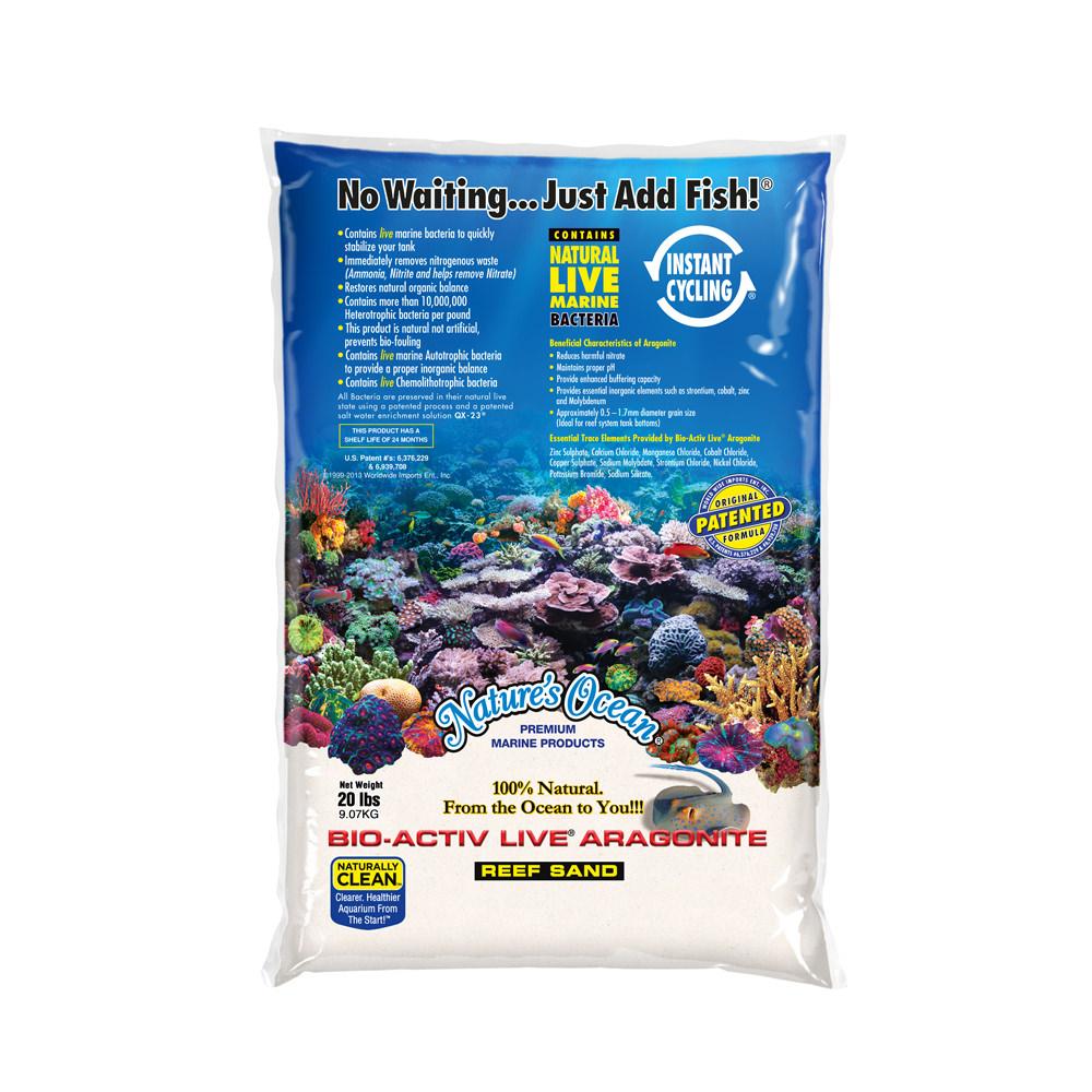 Bio-Activ Live® Aragonite Natural White Reef Sand #0 for Aquariums, 20 lb