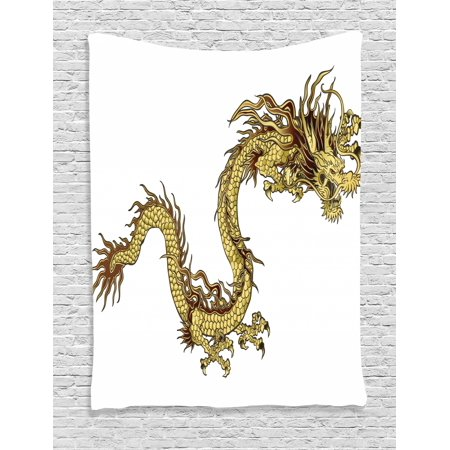 Dragon Tapestry, Fire Dragon Zodiac with Large Claws Symbol Power Chinese  Astrology Theme Mythology, Wall Hanging for Bedroom Living Room Dorm Decor,