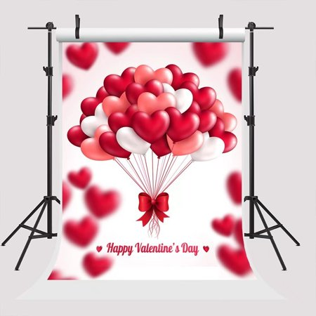 XDDJA Polyester Fabric 5x7ft Happy Valentine's Day Red Heart Balloon Photography Backdrops for Parties Background - image 1 of 2