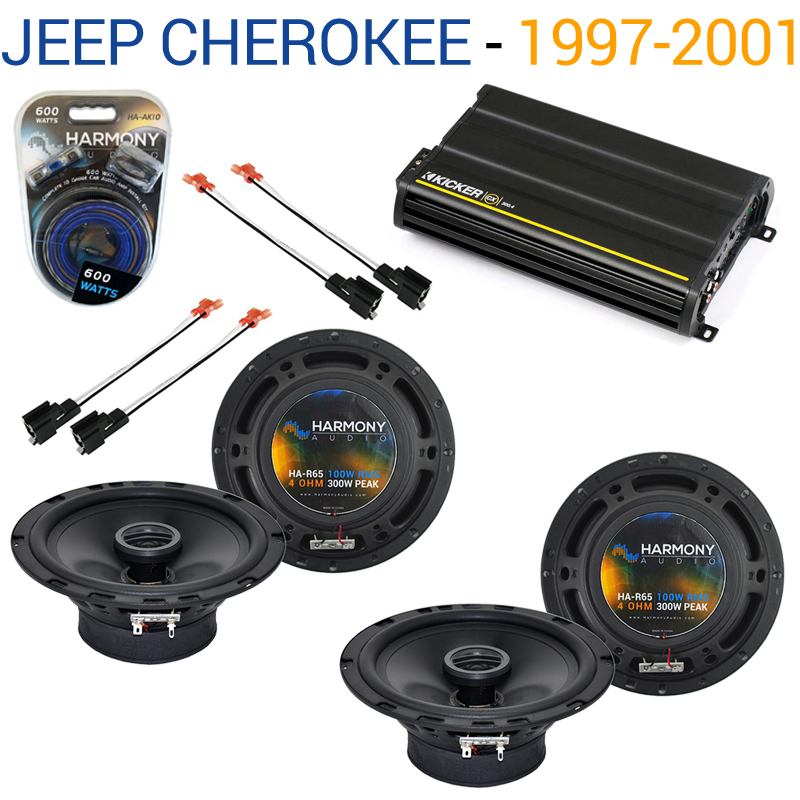 Jeep Cherokee 1997-2001 OEM Speaker Replacement Harmony (2) R65 & CX300.4 Amp Factory Certified Refurbished by Harmony Audio