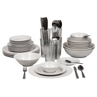 Deals on 10 Strawberry Street Nova White Round 62-Piece Dinnerware Set