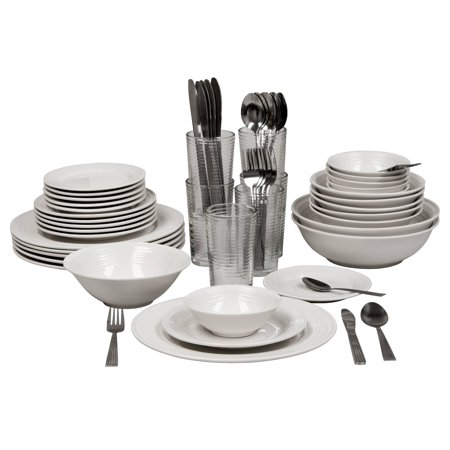 10 Strawberry Street Nova White Round 62-Piece Dinnerware Set, Service for 6
