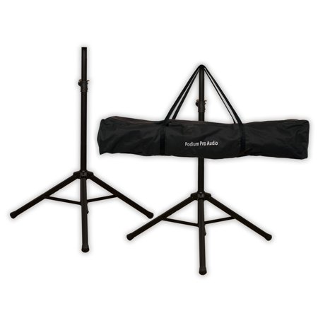 Podium Pro SS1 PA DJ Karaoke Band Steel Speaker Stand Pair Telescoping with Bag SS1B-PR
