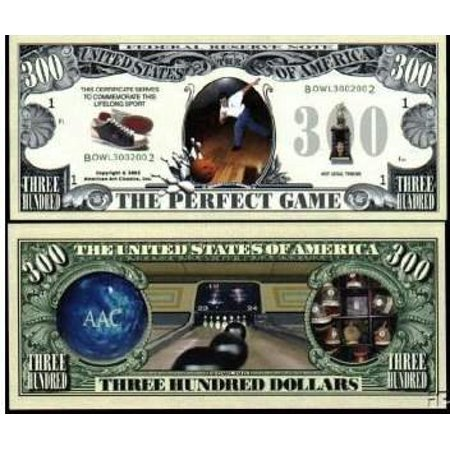 Bowling 300 Perfect Game Novelty Money Bill With Bill Protector, Fake Money! By American Art Classics