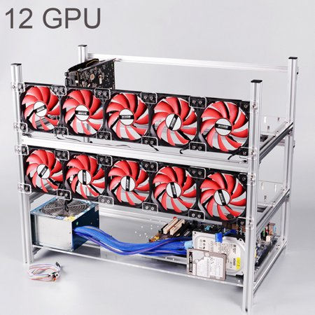 2 Layer Stackable Aluminum Open Air Mining Rig Graphics