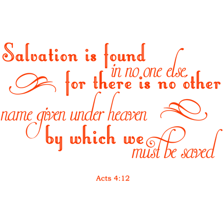 Acts 4 12 Salvation is found in no one else Vinyl Decal Sticker Quote