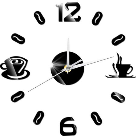 Diy 3D Acrylic Coffee Cup Mirrored Clock Sticker Wall Mirror Decals Removable Home Decoration (Acrylic Wallpaper)