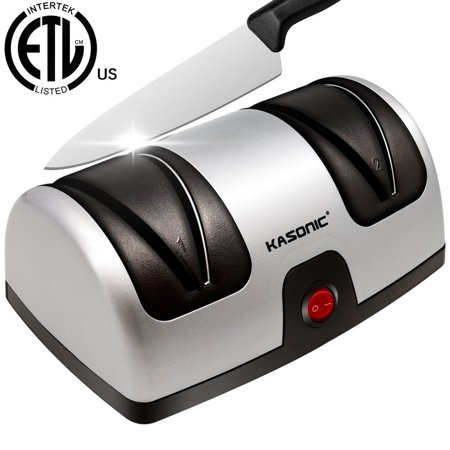 Diamond Coated Knife Sharpener (Electric Knife Sharpener, Kasonic 2-Stage 100% Diamond Coated Sharpening System Quickly Sharpening Most Non-Serrated Kitchen and Sports Steel Knives ETL-Listed)