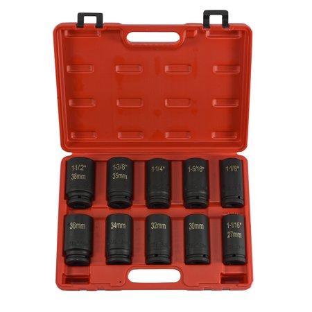 "Neiko 10pc DuoMetric Air Impact Deep Socket 3/4"" inch Drive Set w/ Blown Molded Case"