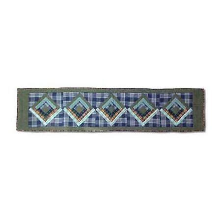 Green Log Cabin Table Runner