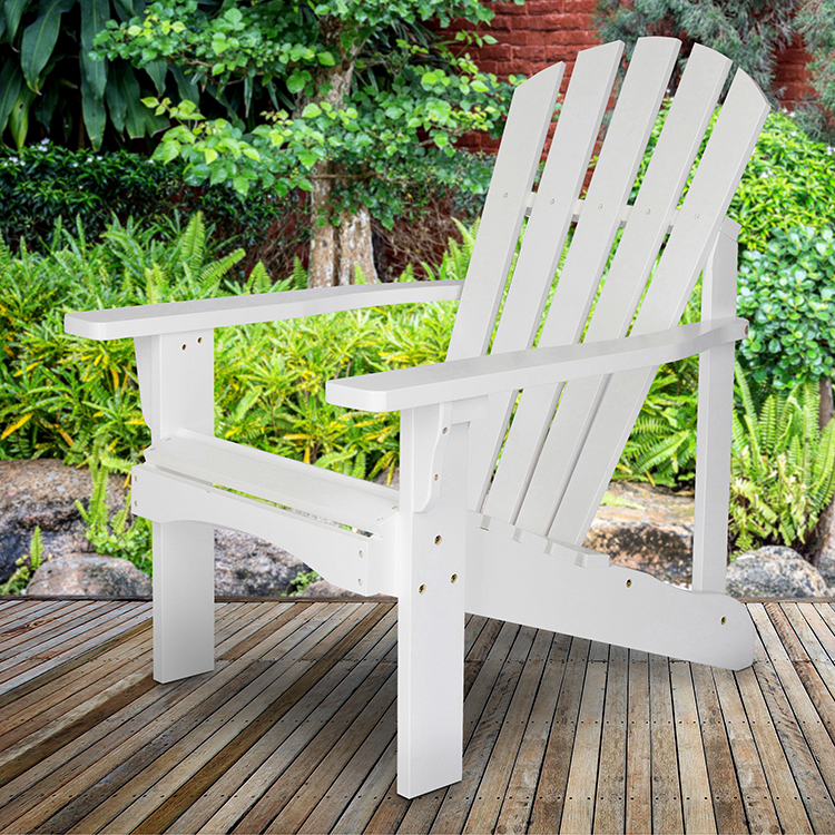 Shine Company Rockport Adirondack Chair, Yellow Cedar Wood - White