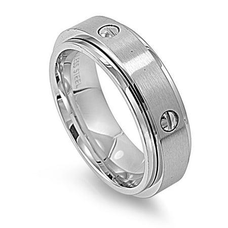 Stainless Steel Screw Design Spinner Ring ()
