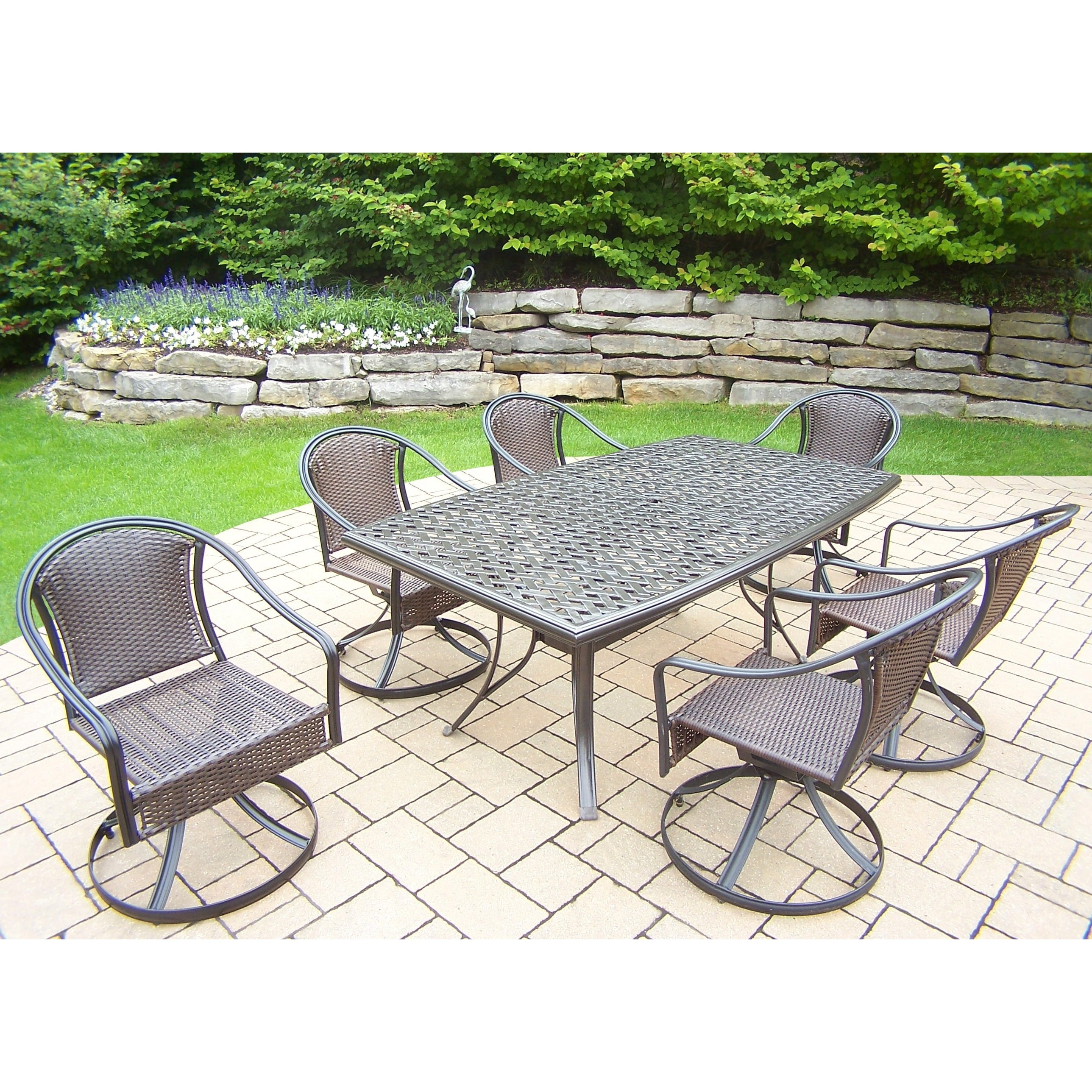 Oakland Living Corporation Aluminum Table and Chairs 7-piece Dining Set