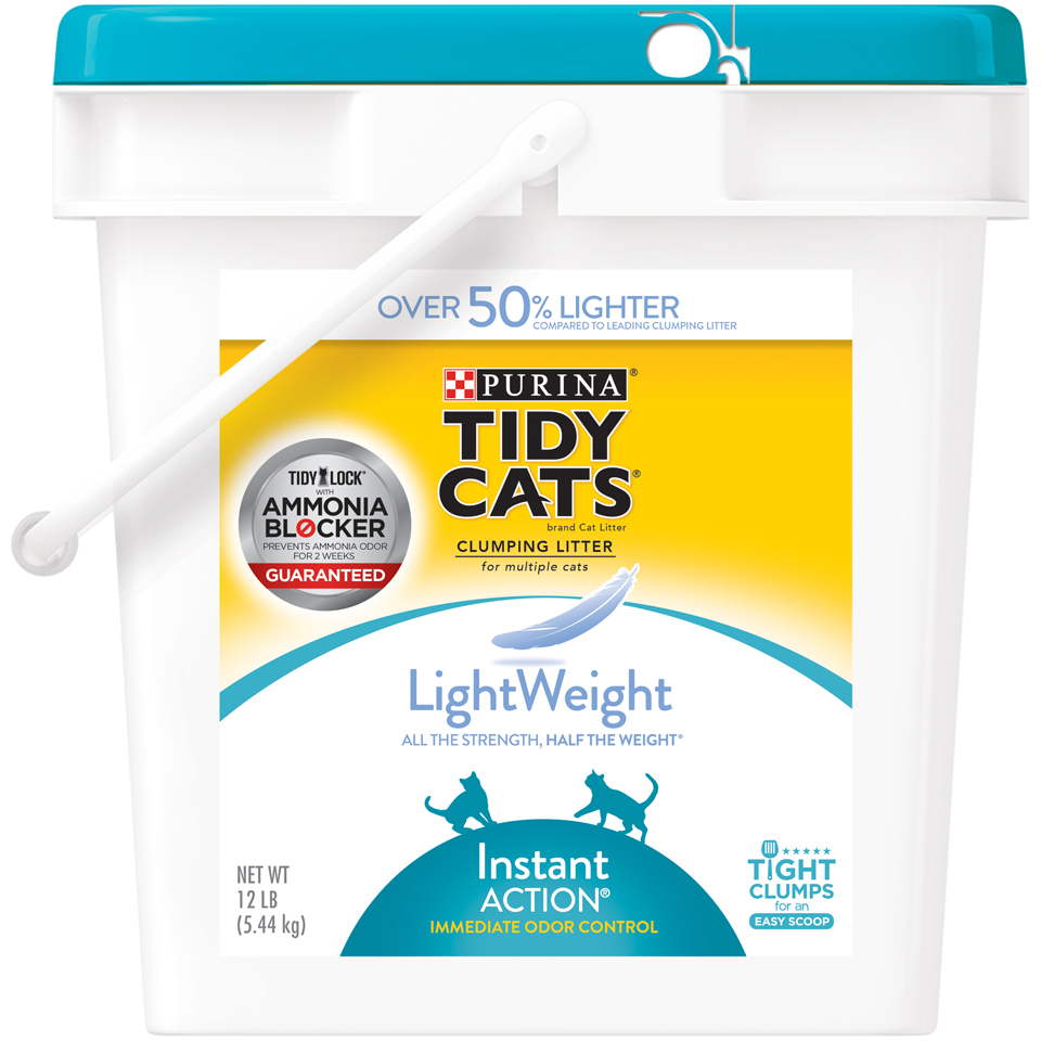 Purina Tidy Cats LightWeight Instant Action Multiple Cats Clumping Cat Litter, 12-lb Pail