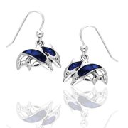 Blue Paua Shell Double Diving Dolphin Sterling Silver Hook Earrings