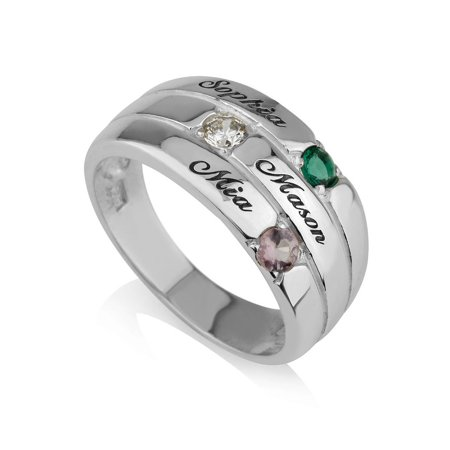 Mothers Ring Engraved simulated Birthstone Ring 3 Stones Ring -925 Sterling Silver - Personalized & Custom Made 3 Stone Tension Set Ring