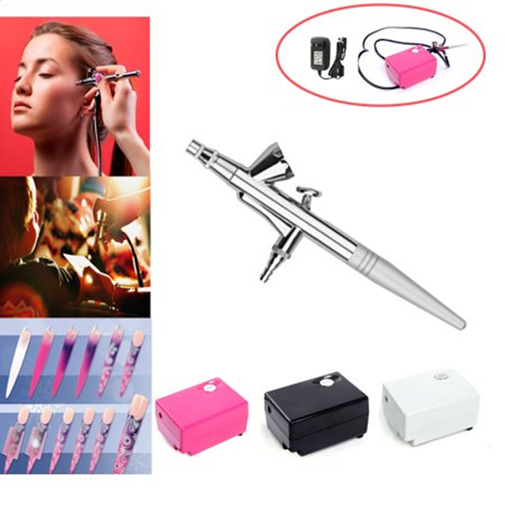 Pinkiou Airbrush Makeup Kit Air Brush with Mini Compressor for Face Paint 0.4mm Needle Nail Art Body Paint Nail Art Air Brush Set (black)