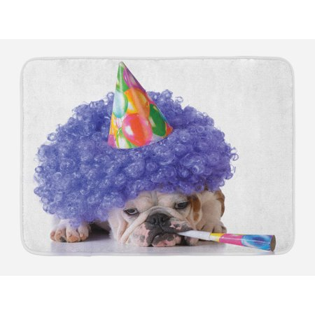 Kids Birthday Bath Mat, Boxer Dog Animal with Purple Wig with Colorful Party Cone Funny Photo Print, Non-Slip Plush Mat Bathroom Kitchen Laundry Room Decor, 29.5 X 17.5 Inches, Multicolor, - Colorful Wig
