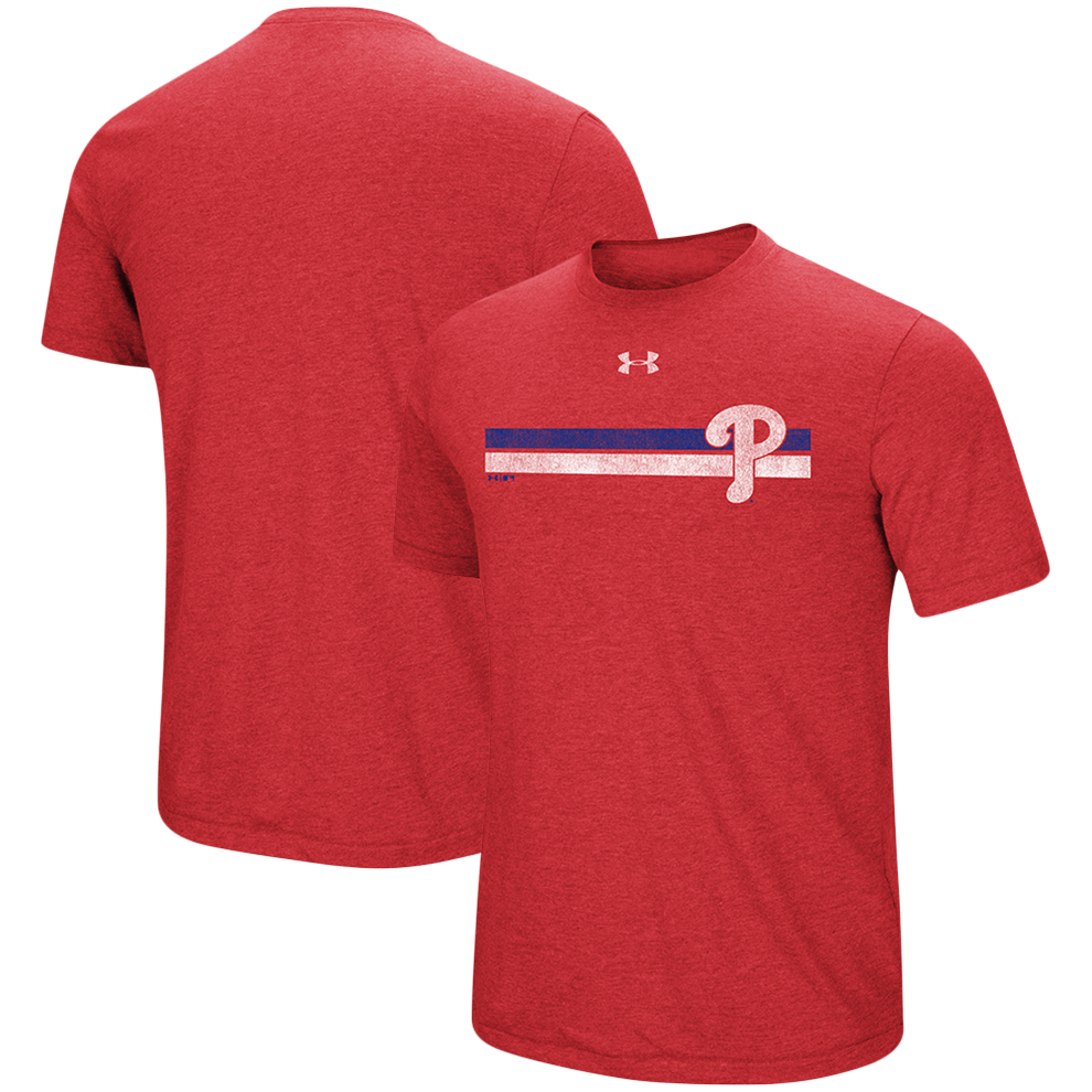 Philadelphia Phillies Under Armour Stripe Logo Tri-Blend T-Shirt - Heathered Red