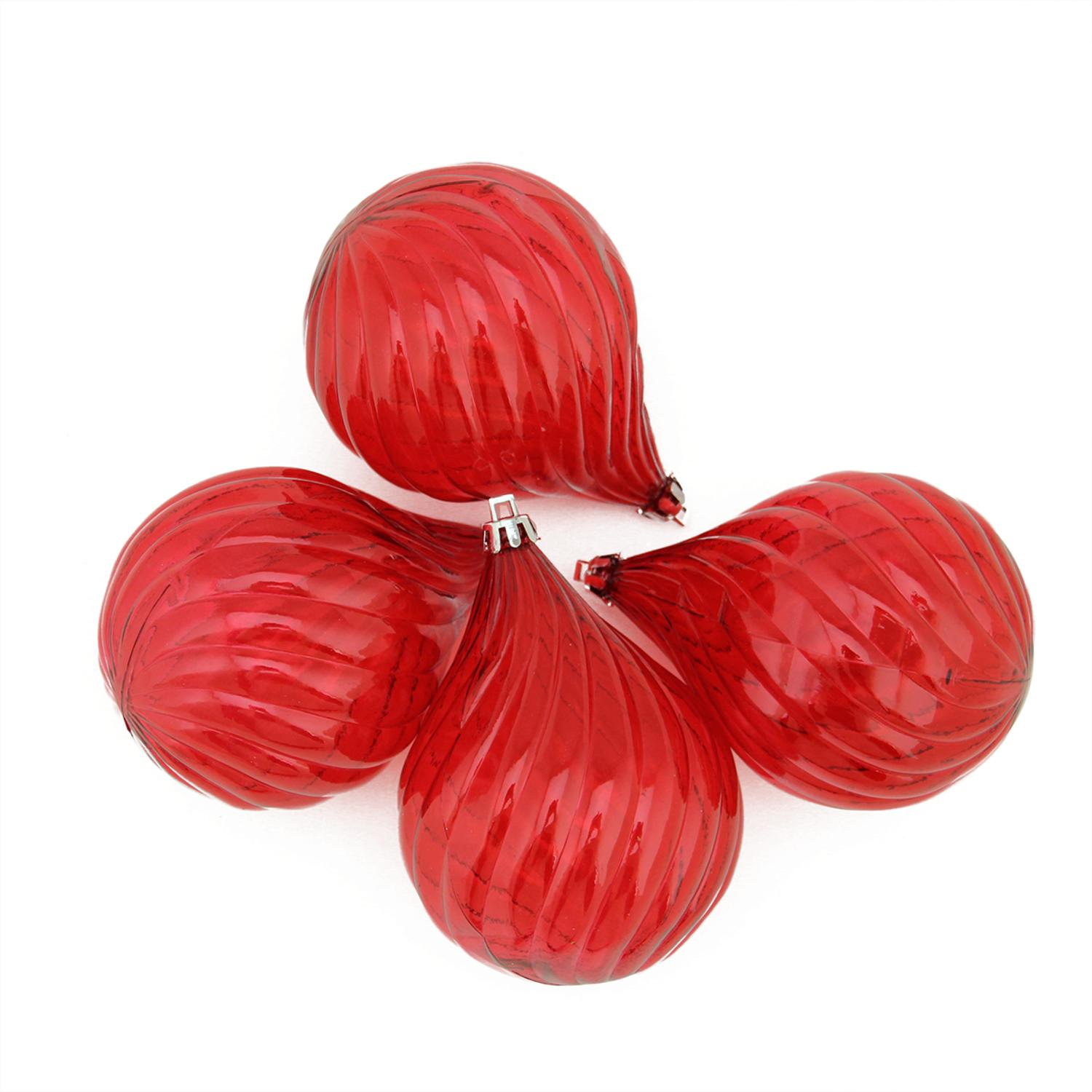 """4ct Red Hot Transparent Finial Drop Shatterproof Christmas Ornaments 4.5"""" - image 1 of 1"""