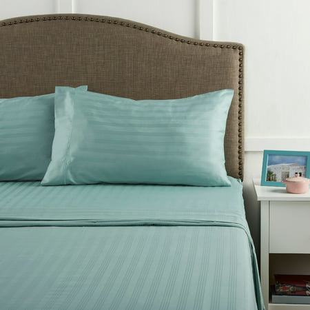 Better Homes & Gardens 400 Thread Count Damask Performance Aqua Queen Bedding Sheet Set