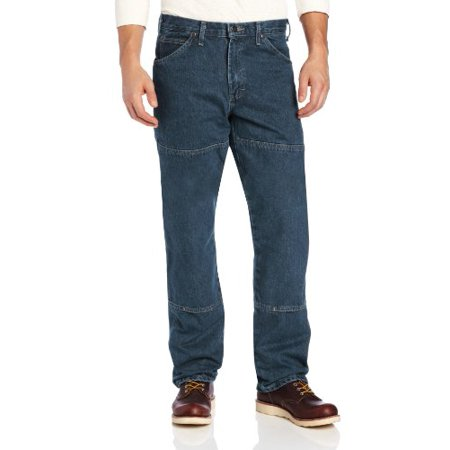 Relaxed Fit Straight Leg Double Knee 6 Pocket Jean