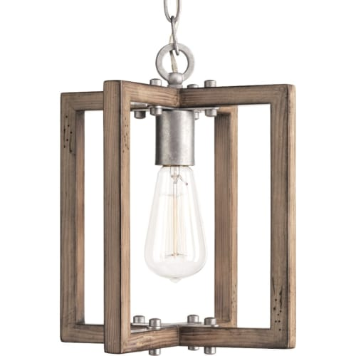 "Progress Lighting P5317 Turnbury Single Light 10"" Pendant with Wood Features"