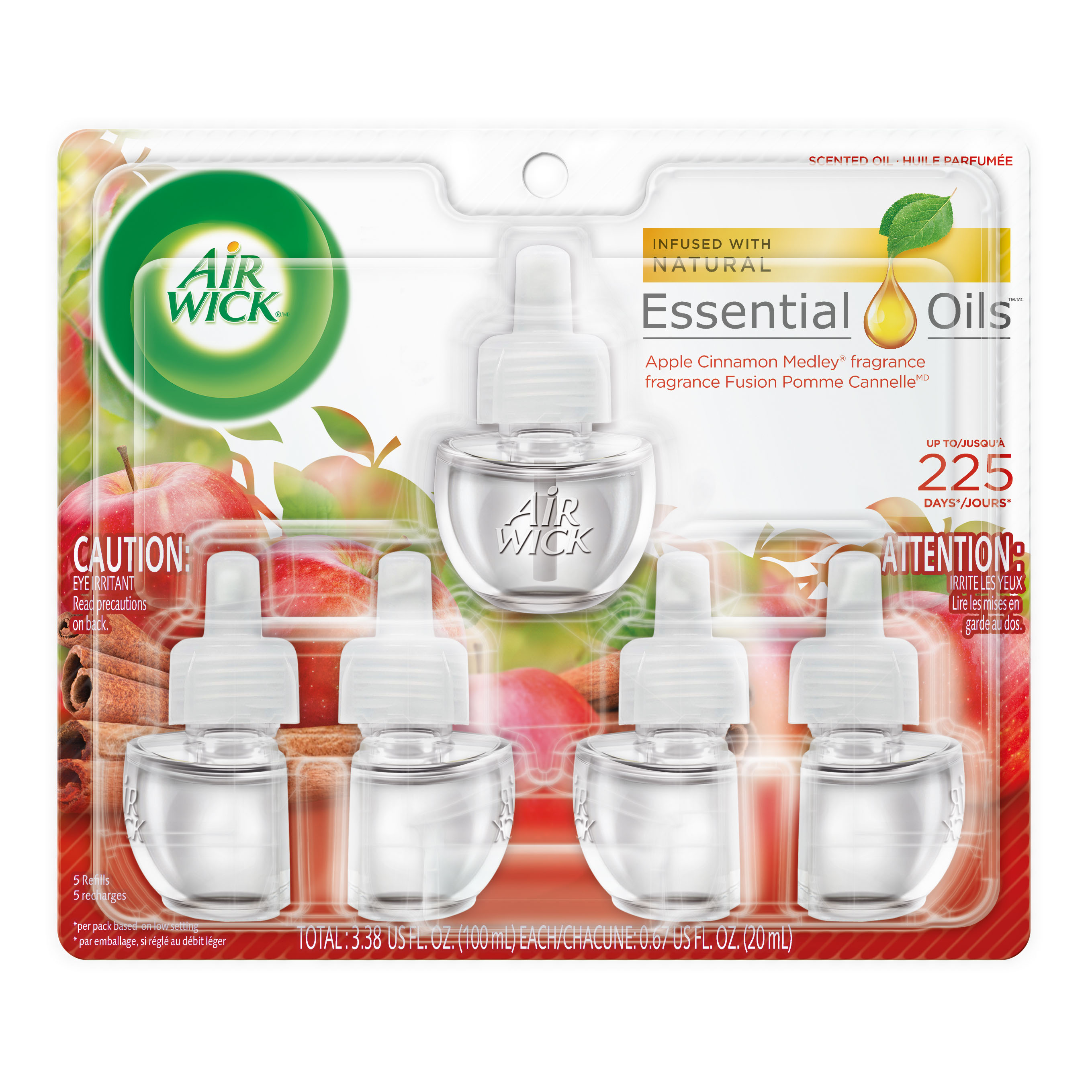 Air Wick Scented Oil 5 Refills, Apple Cinnamon Medley, (5X0.67oz), Air Freshener