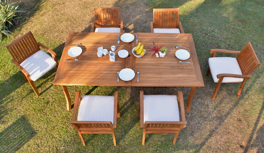 """Teak Dining Room Set:6 Seater 7 Pc -118"""" Rectangle Table And 6 Stacking Napa Armchairs Outdoor Patio... by WholesaleTeak"""