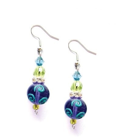 Glass Seed Beaded Earrings (Dazzling Dragonflies Rhinestone Glass Beaded Kate and Macy Earrings )