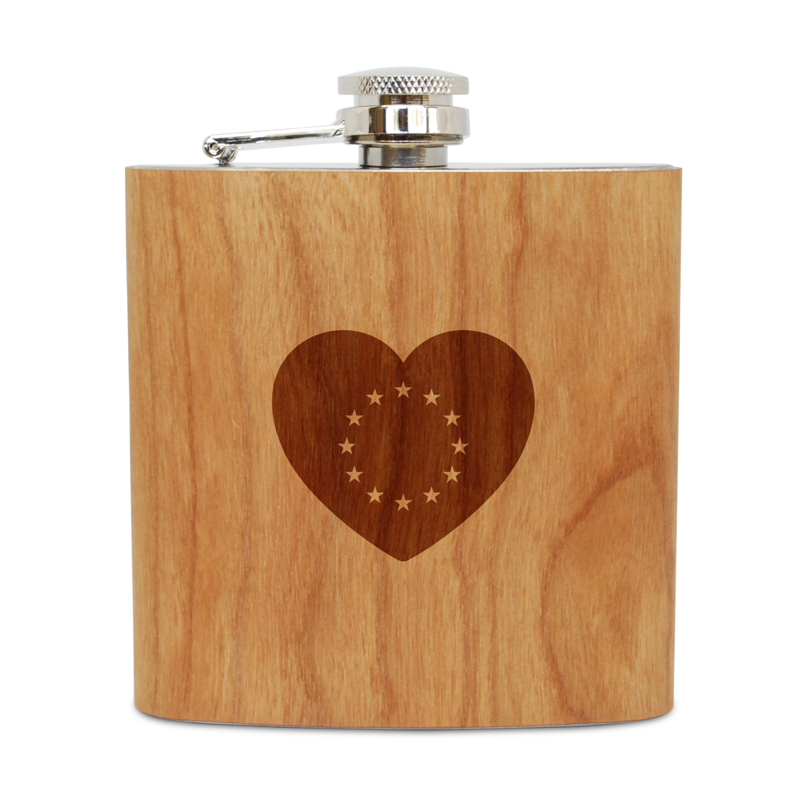 European 6 Oz Wooden Flask (Cherry), Stainless Steel Body, Handmade In Usa