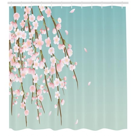 Weeping Flower Shower Curtain, Freshly Blooming Cherry Blossom Branches with Flower Buds, Fabric Bathroom Set with Hooks, 69W X 70L Inches, Pale Pink Baby Blue and Taupe, by Ambesonne - Cherry Blossom Baby Shower