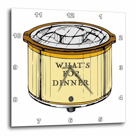 3dRose Crock Pot With Whats For Dinner Written On It, Wall Clock, 10 by 10-inch (Crock Pot With Clock)