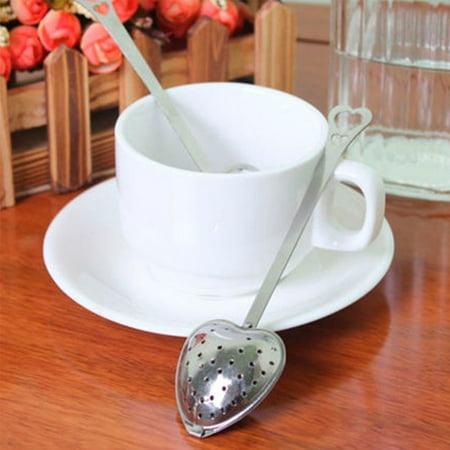 2PCS Heart Shape Stainless Steel Tea Infuser Spoon Strainer Steeper Handle Tea Strainer Tool (Appliance Fx)