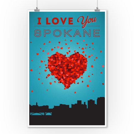 I Love You Spokane, Washington - Lantern Press Artwork (9x12 Art Print, Wall Decor Travel Poster)